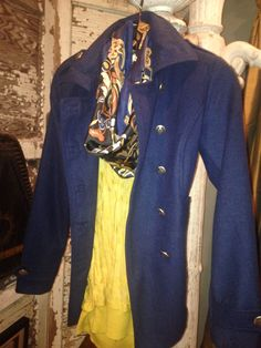 STYLE IT! The CAbi Way! Keep Warm & Cozy w/your Fall CAbi Prep School Coat $158 , Vintage CAbi Silk Print Scarf & Ochre Burn Out Top $108 www.caronmcmahon.cabionline.com