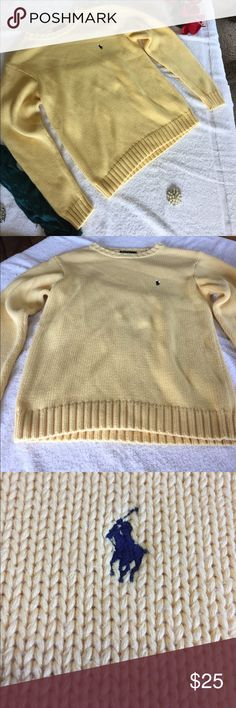 Polo Ralph Lauren Women's Yellow Sweater Size Lrg This item is in great shape!😀Armpit to armpit is 18!!!!  Armpit to sleeve is 19!!! Back of collar to bottom is 25!!!Thanks for looking! The accessorized Scarf and pearl pin are available in our closet! Check out our closet for other great items! Make an offer!....... we love them!❤️ Polo by Ralph Lauren Sweaters