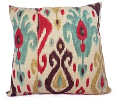 Two Ikat Throw Pillow Covers Red and Brown por CastawayCoveDecor