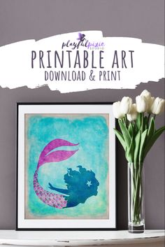 Want to update your beach house decor? Easily add this mermaid art to any wal. Beach Wall Art, Diy Wall Art, Wall Decor, Real Life Mermaids, Father Photo, Mermaid Bedroom, Beach House Decor, Home Decor, Printable Art