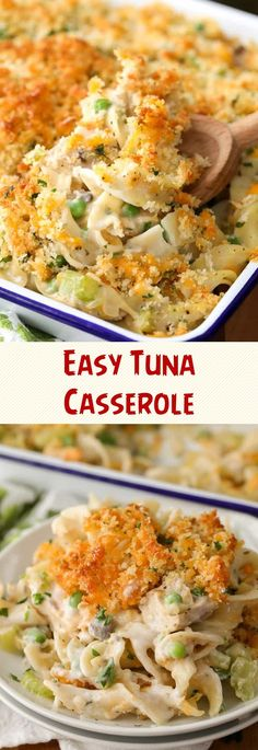 Easy Tuna Casserole- una Noodle Casserole has been a family favorite for generations!Serve this easy recipe with some quick Homemade Buttermilk Biscuits Easy Tuna Casserole Sherry Claire Best Tuna Casserole, Tuna Casserole Recipes, Noodle Casserole, Tuna Recipes, Casserole Dishes, My Recipes, Crockpot Recipes, Seafood Recipes, Recipies