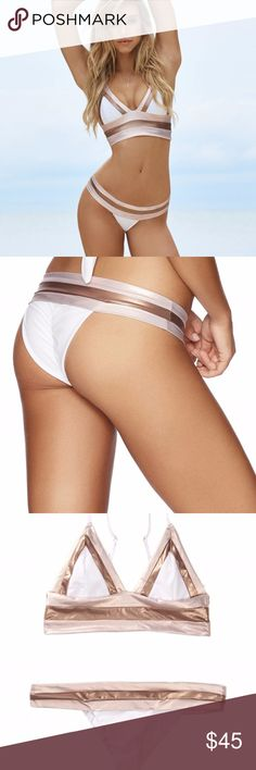 Beach Bunny Tequila Sunrise Bikini Bottom, NWT, S Beach Bunny Swimwear Skimpy Tequila Sunrise Bikini Bottom. NEW with tags. Rose gold and white color blocked skimpy bottom. Sits perfectly & comfortably along the hips to outline your feminine physique! Size: Small *SUPER sexy bikini bottom *Brazilian like fit (refer to pic 2) *Extremely comfortable & high quality material *Pair with a white, rose gold, pink or nude bikini top *Would NOT be selling if I didn't need the $! Thank you for…