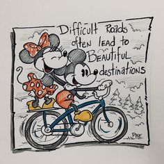 Difficult roads often lead to beautiful destinations Disney Nerd, Cute Disney, Disney Mickey, Disney Dream, Disney Magic, Disney Pictures, Funny Pictures, Funny Pics, Disneyland
