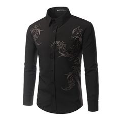 >> Click to Buy << Men's Autumn Foreign Trade Dragon Character Printing Long-Sleeve Shirt Black/White/Red/Light blue M/L/XL/2XL #Affiliate
