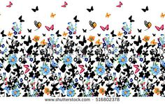 Seamless pattern of forget-me-not. Flowers and butterflies background. Decoration with blooming blue flowers. White background. Watercolor hand drawn illustration.