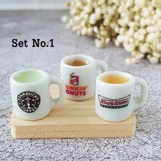 10 Dolls House Miniature Starbucks Ice Cream Coffee Cups Food Drink Vanilla 1//6