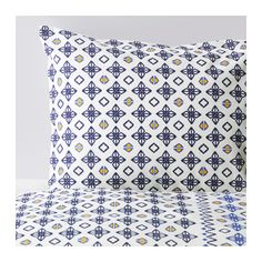 SOMMAR 2017 Duvet cover and pillowcase(s), white/blue white/blue Twin