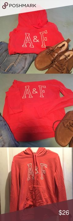 Abercombie and Fitch coral sweatshirt Super cute and soft abercombie and Fitch coral sweatshirt. Not too heavy. Looks super cute with jeans or leggings. Size medium but fits smaller than one. Abercrombie & Fitch Tops Sweatshirts & Hoodies