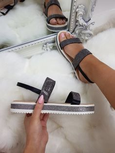 759323b835370 Beautiful summer sandals with crystal detail straps and crystal detail sole  £17.99 #summersandals #