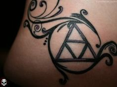 I love the overall look of this Triforce tattoo.  I want to find a way to incorporate music.