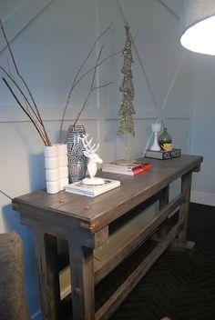 tall console table, decor, white deer head