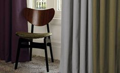 Dark grey curtains can make a bold statement in any room. Please visit us at www.barnesblinds.co.uk