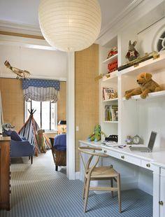 David Netto built in desk Kids Workspace, Desk Areas, Kids Bedroom, Kids Rooms, Childrens Bedroom, Bedroom Desk, Boy Rooms, Kid Spaces, Room Inspiration