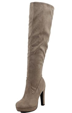 Delicious Women's Faux Suede Almond Toe Over the Knee Chunky Heel Open Back Cuff Dress Heel, Taupe, 8 M US Low Heel Boots, Low Heels, Heeled Boots, Women's Over The Knee Boots, Dress And Heels, Chunky Heels, Taupe, Almond, Amazon