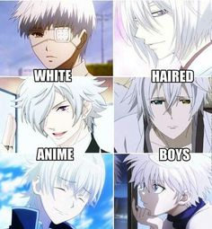 White haired anime boys ~ ok they are literally THE BEST!!! I'm so glad they finally included Killua! I don't think I've ever seem him out in these. He is the best ok?? I love him so much!