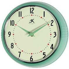 Clock for kitchen. retro metal. teal, green, red, & black. Very happy about this! :)