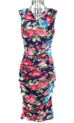 Lovely floral fitted bombshell dress! :)  Sexy sleeveless floral pleated dress
