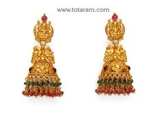22K Gold 'Lakshmi' Jhumkas (Temple Jewellery)