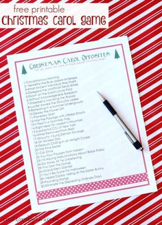 Free printable Christmas Carol Game- try to figure out the titles of your favorite Christmas songs. They are all opposite of what they should be- a hilarious game!