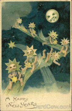 Vintage Happy New Year Card ~ The Moon & Stars Images Vintage, Vintage Cards, Vintage Postcards, Sun Moon Stars, Sun And Stars, Moon Dance, New Year Postcard, Paper Moon, Beautiful Moon