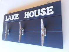 Wall Rack Navy Blue Decor Lake House Decor by LaurenAnnaLei, $48.00