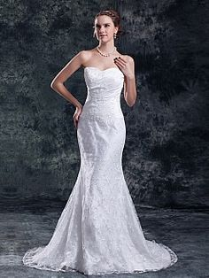 Sweetheart Lace over Satin Trumpet Wedding Dress with Court Train - USD $198.79