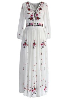 Wondrous Floral Embroidered Maxi Dress - DRESS - Retro, Indie and Unique Fashion Bohemian Lace Dress, White Boho Dress, White Bohemian, Lace Maxi, Floral Maxi, Dressy Maxi Dress, White Maxi Dresses, Dress Long, Long Dresses