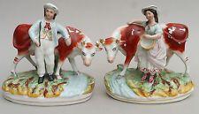 Pair 19thC Victorian STAFFORDSHIRE Figure Groups Milkmaid & Farmer w Cows VGC