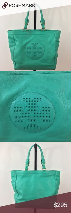 "EXCELLENT CONDITION💚Leather Tory Burch Bag💚 Recently Professionally Cleaned & Conditioned. This is an amazing AUTHENTIC LARGE green leather bag with Brass Hardware! Exterior open end pockets. Interior is a light tan fabric with 1 large zip pocket and 2 multifunctional pockets. Magnetic Snap top closure. Approximate Measurements: Length-17"" Height-13"" Depth-4"" Adjustable Handle Drop-7""-9"" Tory Burch Bags"
