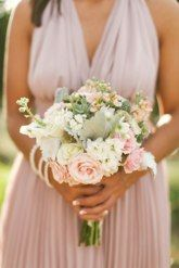 Beautiful light pink and white bridesmaid's bouquet with greenery by Wild Bunches Florals in Dripping Springs,Texas.Photography By: Sunny 16 Photography