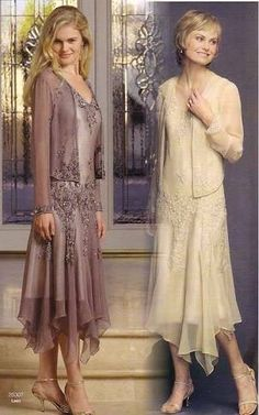 Image result for mother of the bride dresses tea length lace