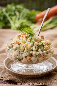 Russian Olivier Potato Salad - You should try this fancied up potato salad and see why our family has been making it for years! | by LetTheBakingBeginBlog.com | @Letthebakingbgn