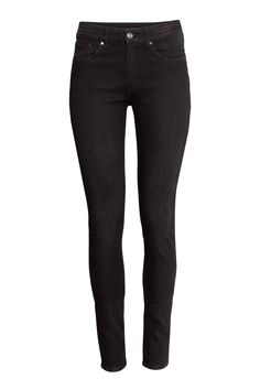 b8eb639655e94 Skinny Regular Jeans. Skinny Regular Jeans - Black denim - Ladies   H&M GB