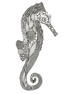 seahorse illustration rendered as what appears to be a line drawing.  Reminds me of Maori art, tribal ink and  henna hand tattoos, and bandana paisley prints...