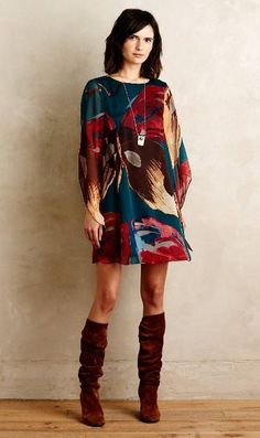 Lorikeet Silk Tunic Dress - Anthropologie
