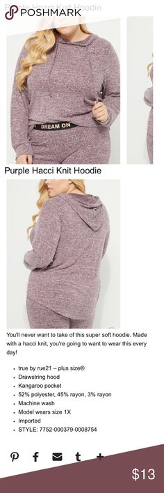 ⭐️FINAL⭐️NWT⭐️ Purple Hacci Knit Hoodie ⭐️FINAL⭐️NWT⭐️ Purple Hacci Knit Hoodie  Super soft!!! 😊 Rue21 Tops Sweatshirts & Hoodies