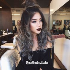 Mary cake grey balayage hair, colored by me.
