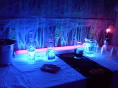 Want to set your Halloween party apart from the rest? Consider a black light bar. Great for your Halloween party Halloween Garage, Halloween Projects, Halloween Party Decor, Holidays Halloween, Spooky Halloween, Halloween Themes, Halloween Lighting, Halloween 2014, Neon Party Decorations