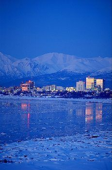 Anchorage, Alaska, Skyline in Winter with icy Cook Inlet and Chugach Mountains Moving To Alaska, North To Alaska, Alaska Travel, 1964 Alaska Earthquake, Places Around The World, Around The Worlds, Alaska Winter, Winter Photography, Food Photography