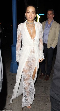 Bit of all white! Rita Ora was making a serious statement in a white, bridal inspired gown as she joined new boyfriend Andrew Watt for a sushi dinner date in Beverly Hills on Tuesday White Outfits, Sexy Outfits, Rita Ore, Sagittarius Girl, Sheer Lace Dress, Johny Depp, Lingerie Fine, Oras, Polyvore Outfits
