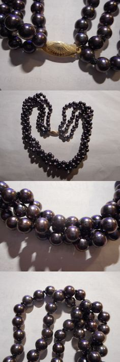 Necklaces and Pendants 165042: 14K Gold 3 Strand Peacock Black Akoya Sea Pearl Vintage Necklace Unused Old -> BUY IT NOW ONLY: $249.99 on eBay!