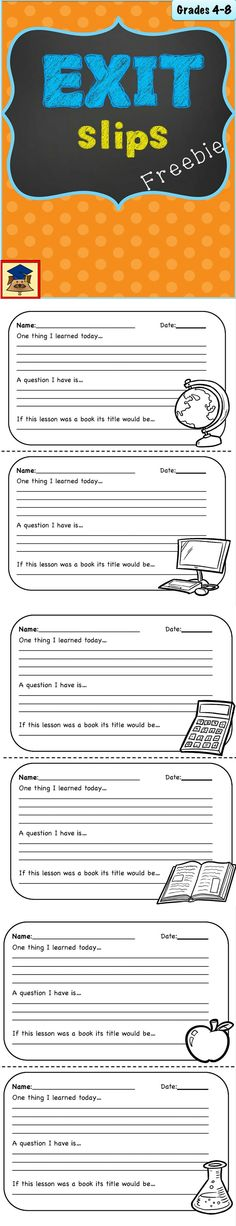 "These free ticket out the door exit slips are a quick tool for making students think about the lessons they just learned, and to assess the students comprehension of the classroom material.Use these at the end of a class as a ""ticket"" to leave the classroom."