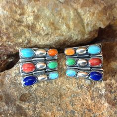 """These Sterling Silver Hinged Earrings are angular in design and have the following features: Size: 7/8"""" L x 7/8"""" W; Double Hinged Stones: Orange Spiny Oyster Shell, Kingman Turquoise, Gaspiete, Lapis,"""