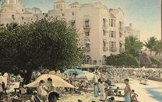 Vintage Hand Colored Post Card Of Royal Hawaiian Hotel, Honolulu Hawaii Waikiki Beach, Honolulu Hawaii, Polynesian Art, Vintage Postcards, Hand Coloring, 1930s, Mount Rushmore, Hawaiian, Dolores Park