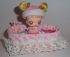 Ojamajo Doremi Hana doll by Bandai Japan. Comes with bassinet and plush bunny toy. In very good used condition. Doll is approximately 6cm tall. What you see in the pictures is what you get. See my oth