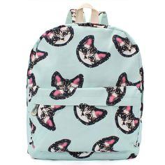 Cute Cat face Canvas Backpack - KawaiiKoo