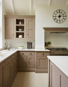 A contemporary twist on a classic shaker kitchen, including feature island, bespoke storage and built-in luxury appliances. Beige Kitchen Cabinets, Kitchen Cabinet Colors, Painting Kitchen Cabinets, Kitchen Redo, Home Decor Kitchen, Kitchen Styling, Interior Design Kitchen, Home Kitchens, Kitchen Remodel