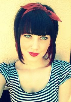 Cute style with blunt bangs