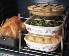 This oven rack is a must have in our house around holiday time! BEST Kitchen Gadget for baking for large groups!