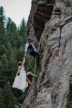 Rock Climbing Elopement at Capitalist Craig | Rocky Mountain Bride Elopement Inspiration, Rock Climbing, Bradley Mountain, Rocky Mountains, Bride, Wedding Bride, The Bride, Climbing, Mountaineering